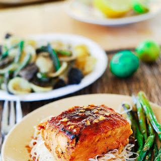 Asian Salmon With Rice Noodles And Asparagus.