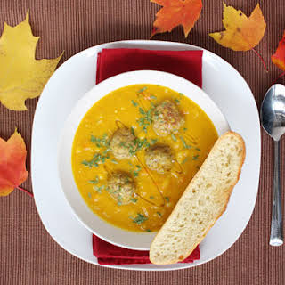 Curried Squash Soup with Lamb Meatballs.