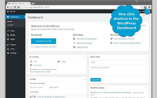 WordPress Dashboard Shortcut