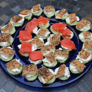 Skinny Smoked Salmon & Trout Cucumber Bites.