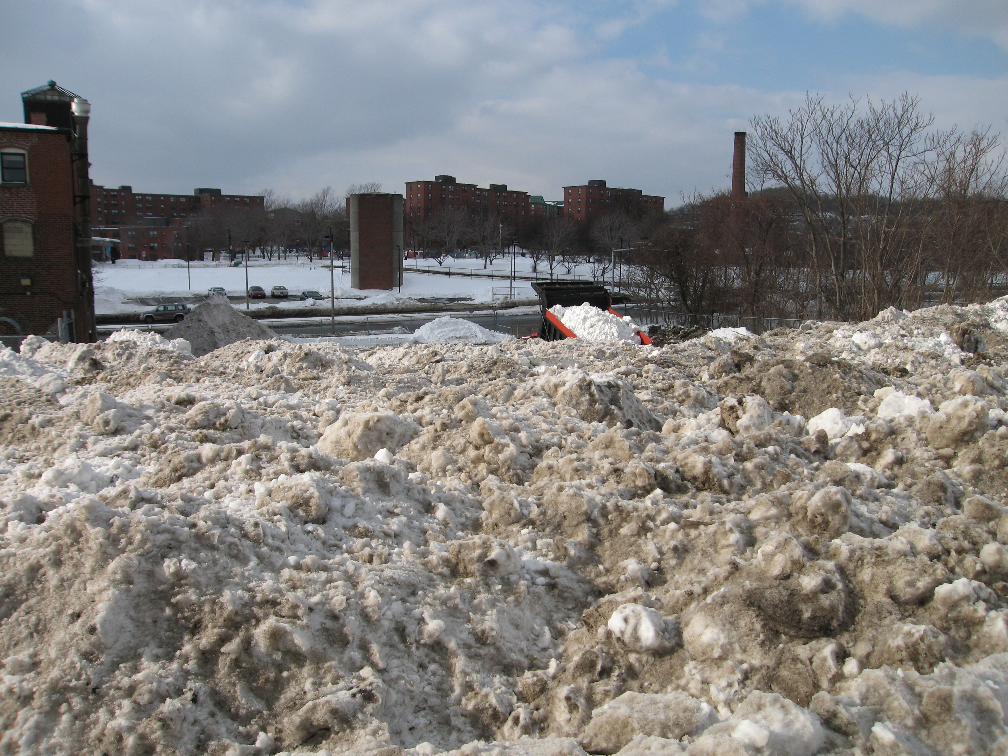 Photo: This is where they take some of the snow from Boston. A dumptruck is dumping a fresh load in this photo. See all(?) of the dumping locations here: http://maps.google.com/maps/ms?ie=UTF8&hl=en&msa=0&msid=214148468717374278360.00049b40687948d3d9449&z=12