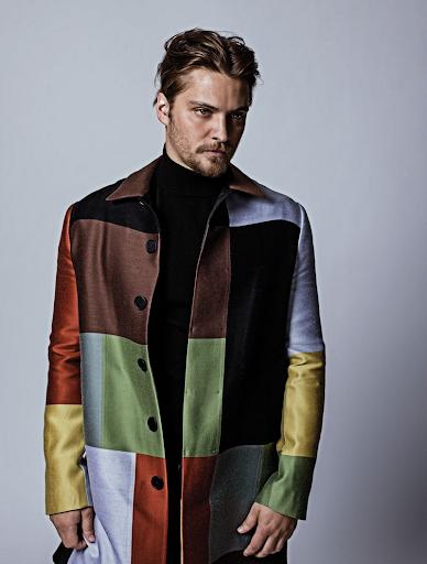 Luke Grimes in Bottega Veneta Multicolor Wool Coat
