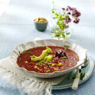 Gazpacho with Pine Nuts and Avocado.