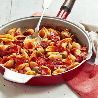 Shell Pasta with Salami and Olives.