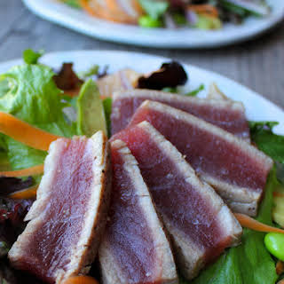 Seared Ahi Tuna Salad with Citrus Ginger Dressing.