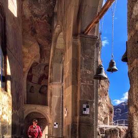 Vardzia Monastery by Leyon Albeza - Instagram & Mobile iPhone ( travel photography, monastery, bells, ruins, travel locations, travel, architecture )