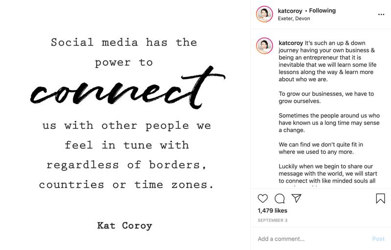 ejemplo de una publicación de cita de Instagram con texto principalmente en fuente de bloque con algunas palabras en el texto del guión para enfatizar