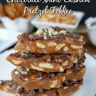 Chocolate Mint Cashew Pretzel Toffee.