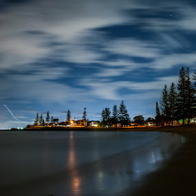 Nighttime beach by Mark Luyt - Landscapes Beaches ( night, beach, nightscape, long exposure, clouds, night photography )
