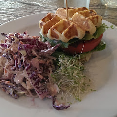 BLT with waffle bread and yummy slaw!