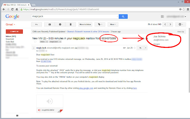 magicJack Voicemail for Gmail