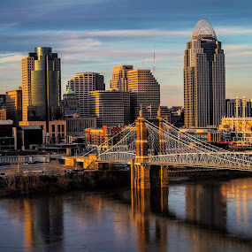 Cincinnati Evening by Dave Dabour - City,  Street & Park  Skylines ( photoproexpo, 2013, bridge,  )
