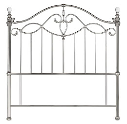 Elegant Metal Floor Standing Headboard in Shiny Nickel