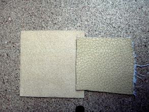 Photo: Zolatone Desert Camo background, UltraSuede Sand on the left, UltraLeather Desert Clay on the right.  None are reproduced accurately.  The Zolatone is not as gray, and the UltraLeather is not as green.