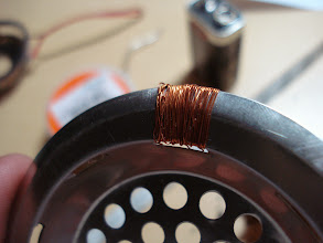 Photo: Now time to put on the coil winding. My work was not so clean that is why I need my wife +Hannah to help. :)