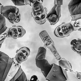 The Biggest Gulp by Arnold Ward - Wedding Groups ( groomsmen, black and white, wide angle, wedding, groom )