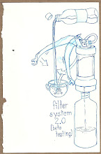 Photo: This is a faithful diagram of the water filtration system we used for all water we drank. Overcautious? Maybe. but neither of us got sick.