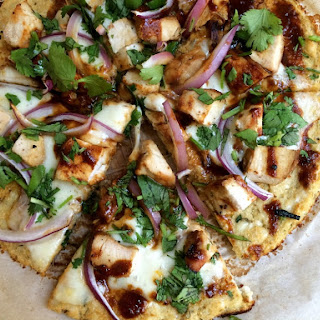 BBQ Chicken Pizza with Cauliflower Crust.