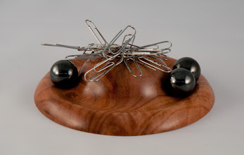 "Photo: Gary Guenther 5"" x 1"" paper clip holder with hemitite marbles [dogwood w/ rare earth magnet]"
