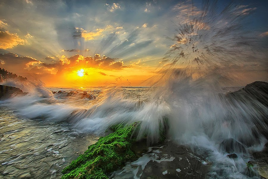Shining Sun by Agoes Antara - Landscapes Sunsets & Sunrises ( nature, waterscape, ray off light, sunrise, beach, pwcsunbeams, sun )