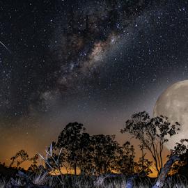 Big Moon rising by Rob Crutcher  - Digital Art Places ( stars, digital art, full moon, landscape, moonrise, milky way )