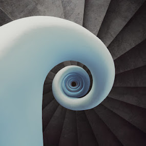 THE White Shell by Steve Struttmann - Buildings & Architecture Architectural Detail ( stairs, blue, white, round, spiral, spain, spictures,  )