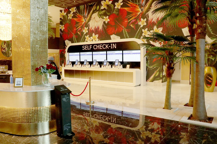 The self check-in desk in the reception area of Hotel Sky in Sandton, Joburg.