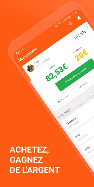 iGraal : Codes promo & Cashback Android App Screenshot