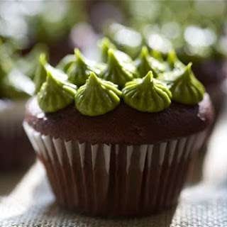 Dark Chocolate Cupcakes with Matcha Green Tea Frosting