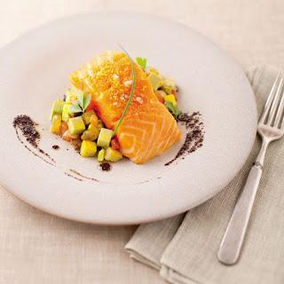 < > Salmon-Avocado Caponata with Pistachios and Black Olive Oil