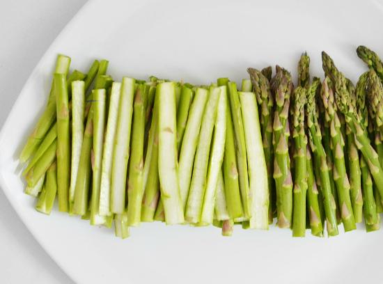 cut the stalks in half and toss in bowl