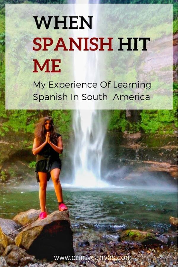 pinterest image for article on learning Spanish in South America