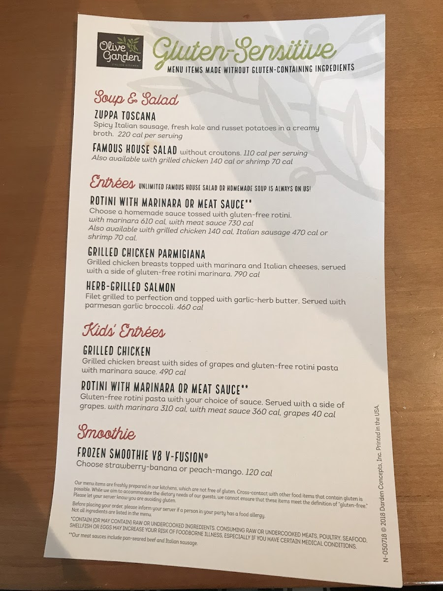 Gf Menu Photo From Olive Garden
