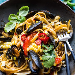 Basil Coconut Curry Pasta with Clams, Mussels and Corn..