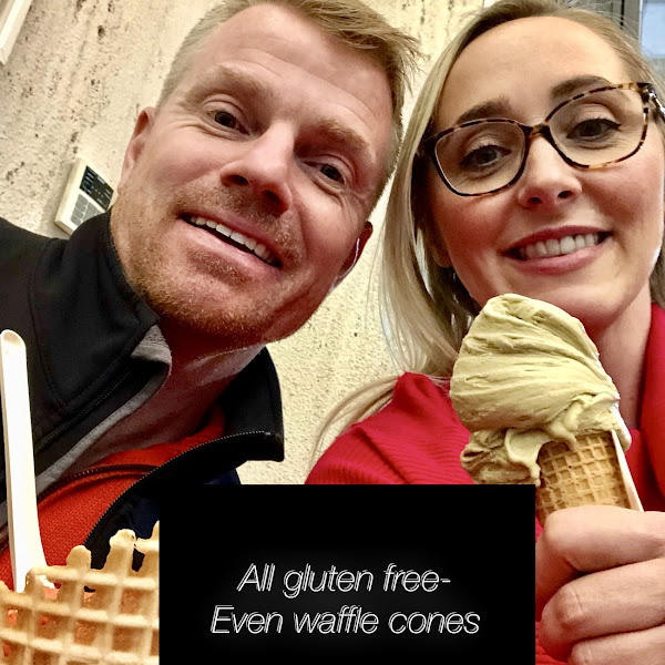 Waffle cones are gf too! I liked the tortuffo? Flavor gelato and my hubby loved the one with the cookies in it. Pistachio (in photo) was also good. You can sample flavors before buying! 100% gf shop!