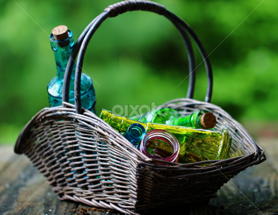 Bottles by Dipali S - Artistic Objects Still Life ( cork, decorative, color, artistic, basket, glass, colored, bottles )
