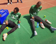 Bafana Bafana players Percy Tau and Thembinkosi Lorch during training. Tau will be disappointed that he traveled all the way from Belgium for nothing.