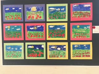 more student paintings of poppy flowers