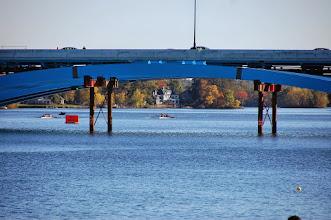 Photo: The boys varsity approach the bridge