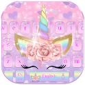 Pink Flower Unicorn Keyboard Theme icon