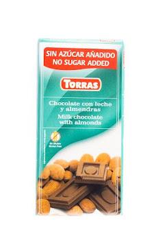 Chocolatina Torras   Chocolate Leche Y Almendras Sin Azúcar X75G.
