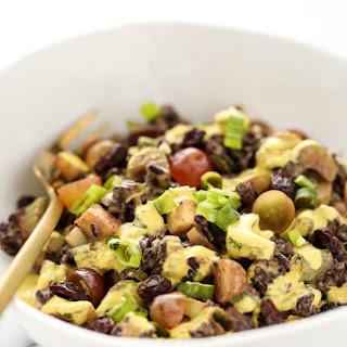 Vegan Black Rice Crunch Salad with Creamy Curried Cashew Dressing
