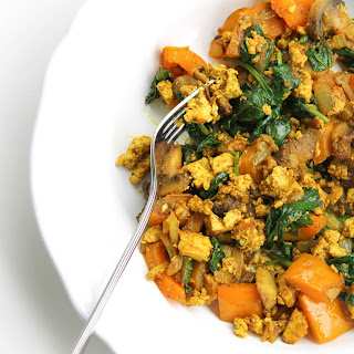 Curried Spinach and Mushroom Tofu Scramble.