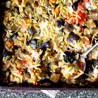 Baked Orzo with Eggplant and Mozzarella.
