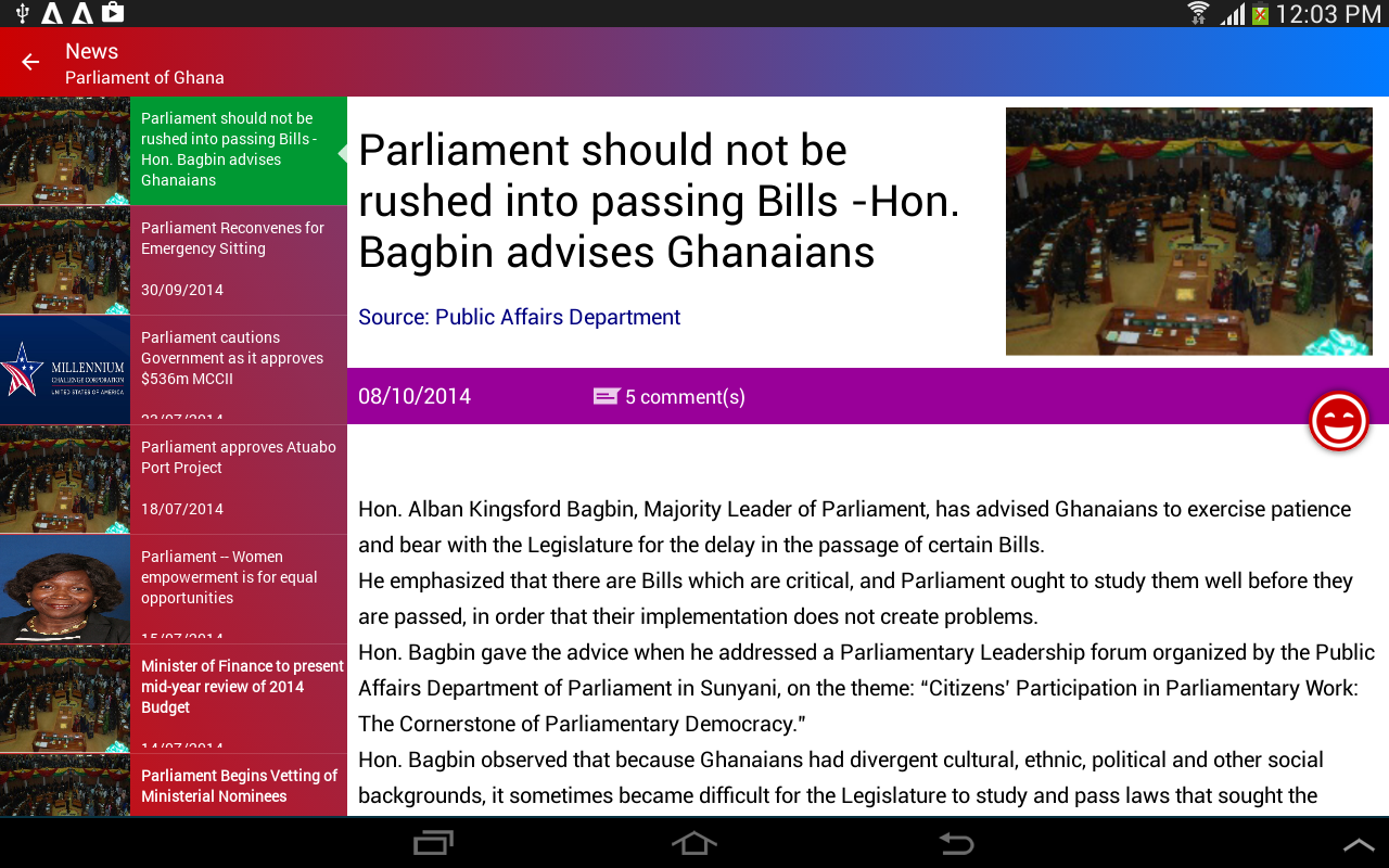 Parliamentary Watch- screenshot