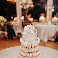 My daughter has a gluten allergy and loves your macarons so she chose them for her wedding cake. They came to the venue and set up the macaron tower. Everyone loved it! (gf cake from Cocoa Bites)