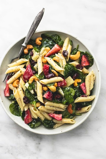 Strawberry Spinach Pasta Salad With Orange Poppy Seed Dressing Recipe
