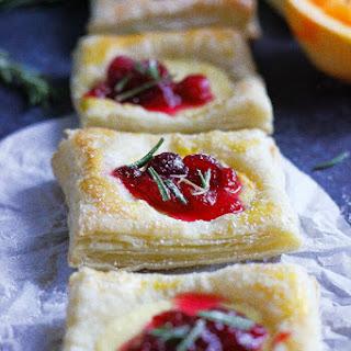 Orange Ricotta Tarts With Chunky Cranberry Sauce.