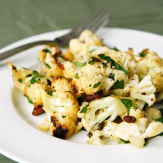 Roasted Cauliflower Salad with Warm Pancetta Garlic Vinaigrette