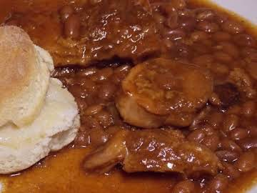Cola Baked Beans and Pork Chops - Slow Cooker